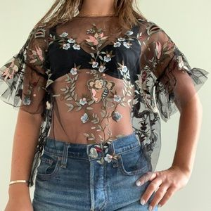 Zara mesh floral embroidered top